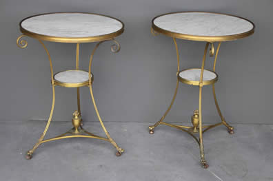 Tables Generous Solid Mahogany French Chateau Style Gilt Marble Top Carved Console Hall Table