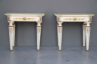 Antiques Generous Solid Mahogany French Chateau Style Gilt Marble Top Carved Console Hall Table Antique Furniture