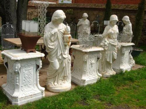 Old Garden Statue: Antique Garden Statuary Cast Iron Statues Sculptures Life